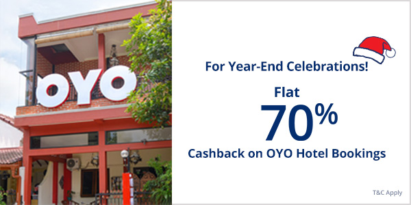 Flat 70% off Cashback on OYO Hotel Bookings
